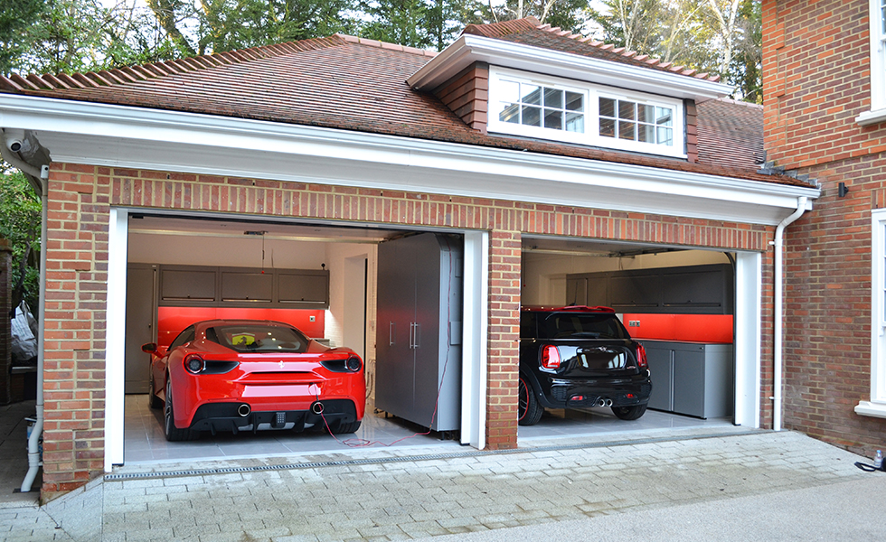 Double garage with Dura cabinets for Ferrari and Mini owners