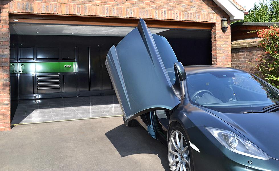 Dura cabinets in double garage for McLaren owner
