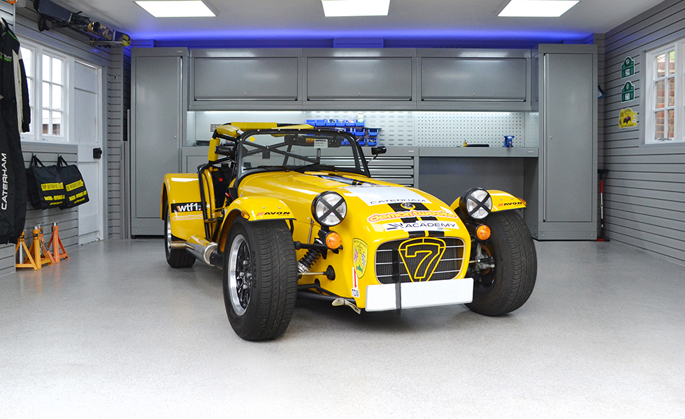 Dura cabinets and wall storage for a motorsport Caterham garage