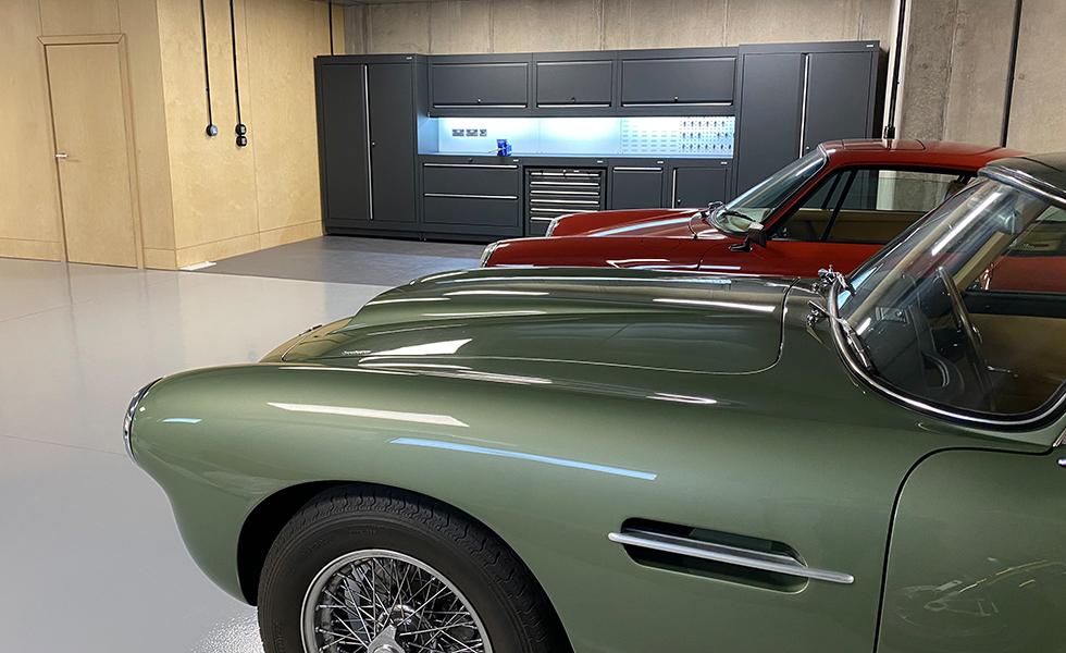 Dura cabinets for underground garage for Porsche and Aston Martin owner
