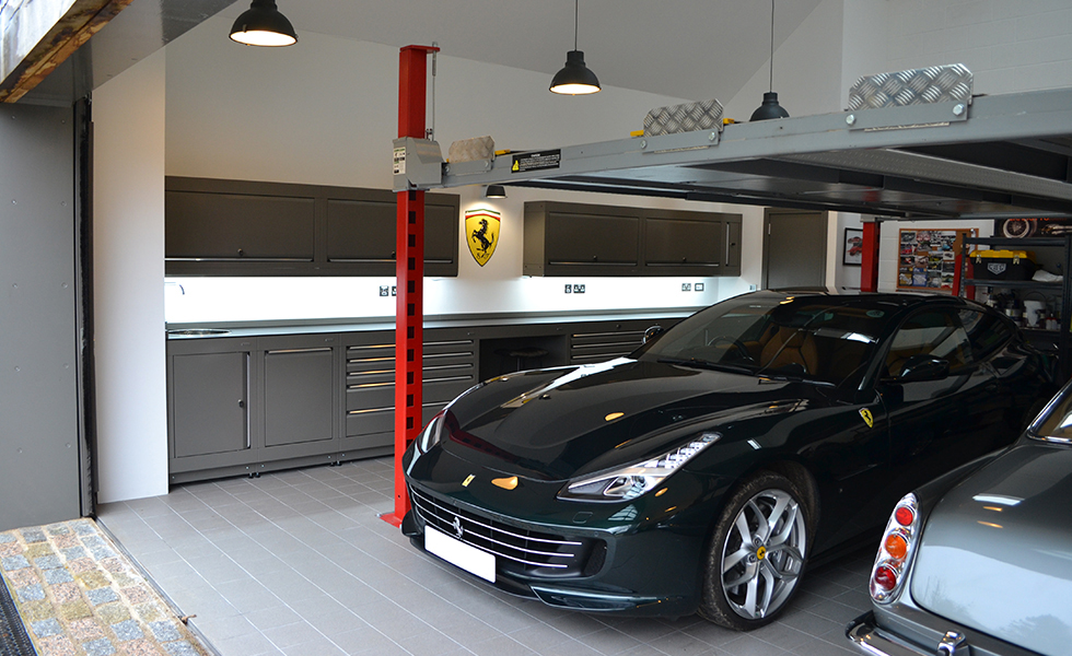 Home workshop with Dura cabinets for Ferrari owner