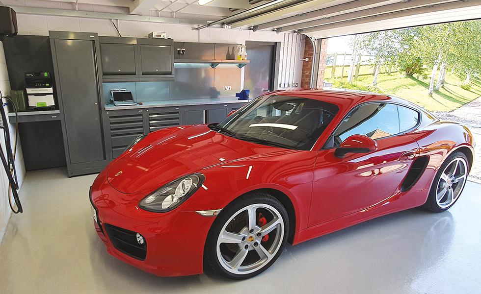 Dura cabinets in double garage for Porsche owner