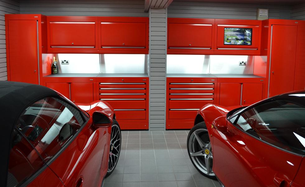Custom coloured Dura cabinets for garage of Porsche and Ferrari owner