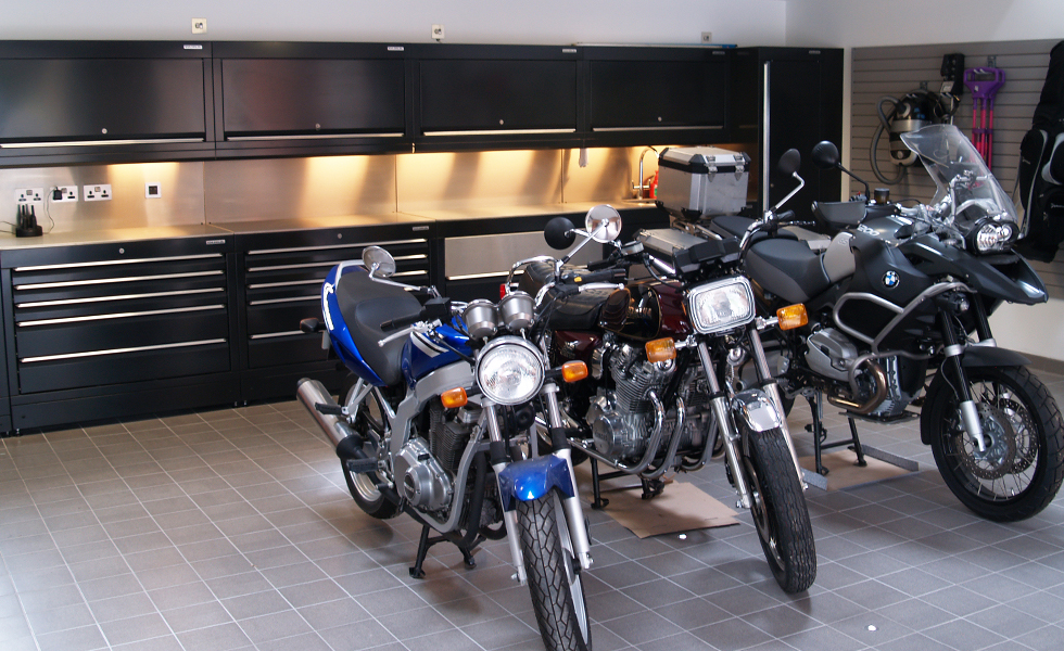 Dura workshop cabinets for BMW and Yamaha motorcycle owner