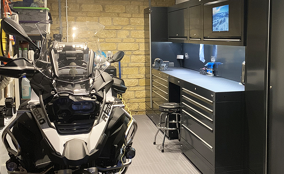 Dura workshop cabinets for BMW motorcycle owner