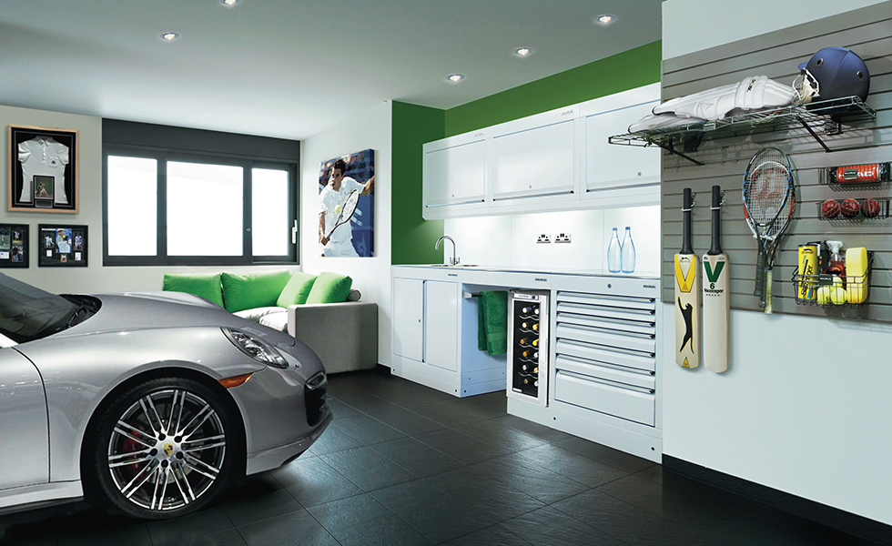 Dura cabinets, wall storage and flooring for a tennis and cricket themed garage