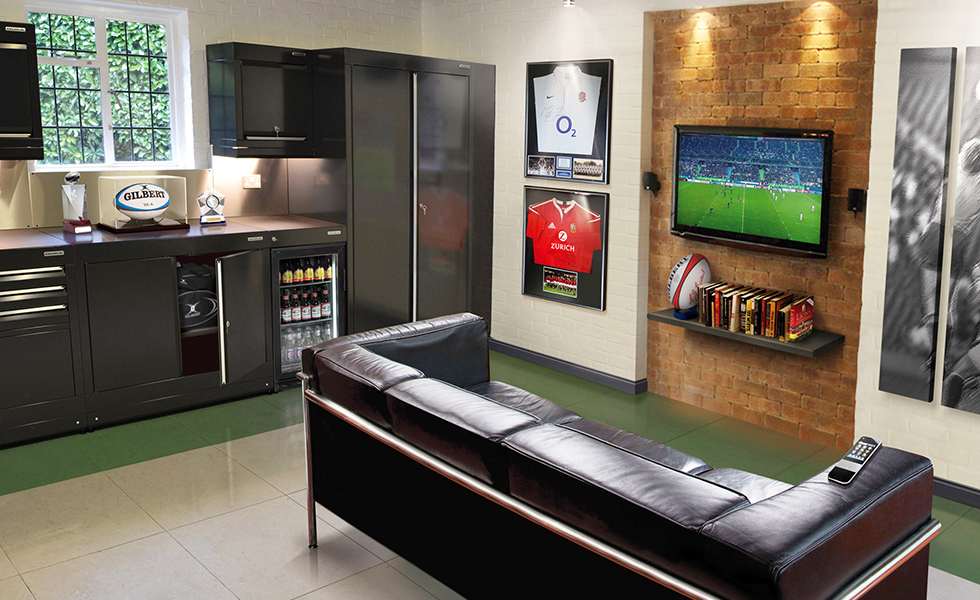 Dura cabinets and flooring for a rugby themed garage
