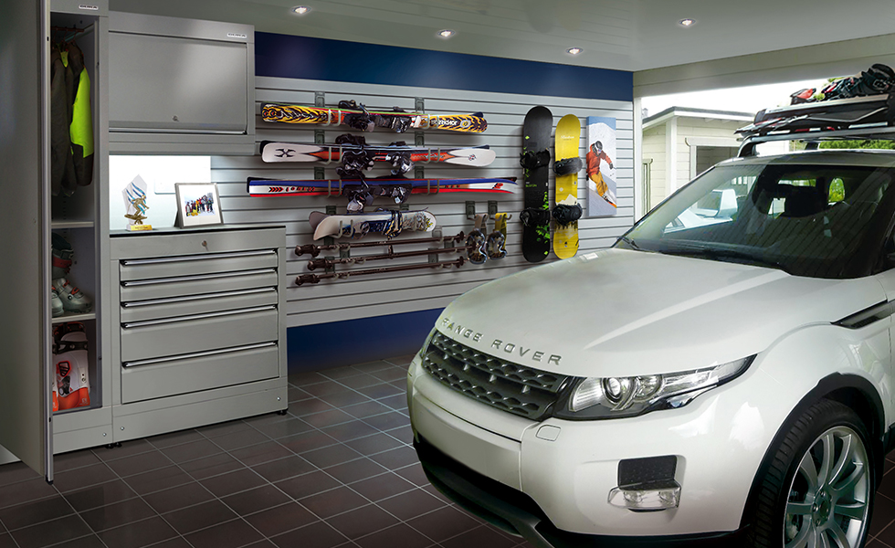 Dura cabinets, wall storage and flooring for a winter sport garage