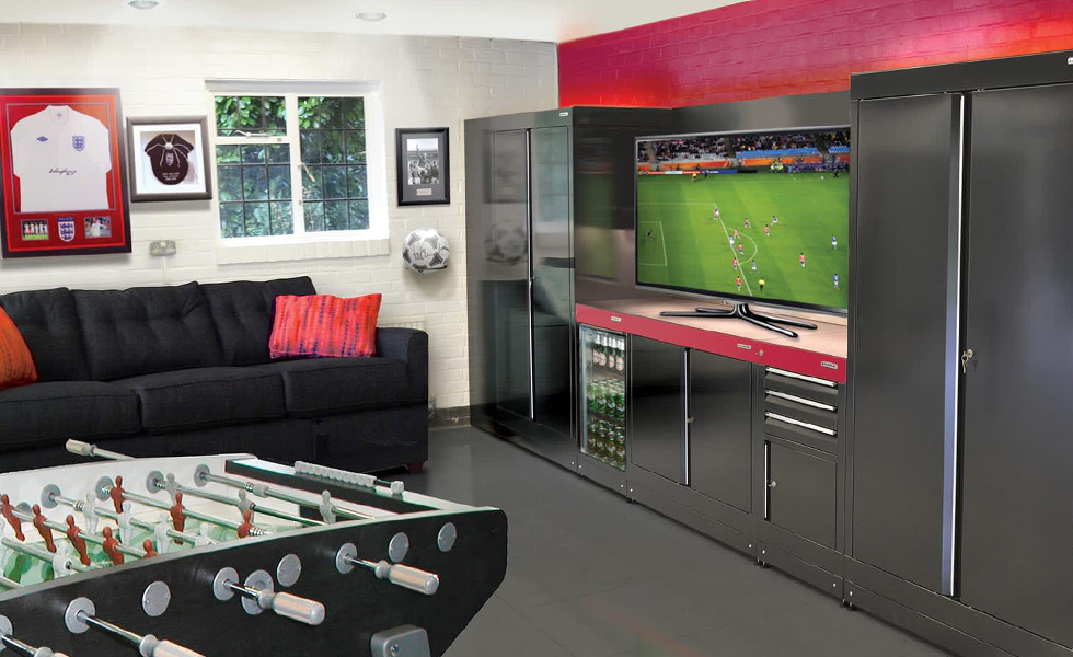 Dura cabinets and flooring for a football themed garage