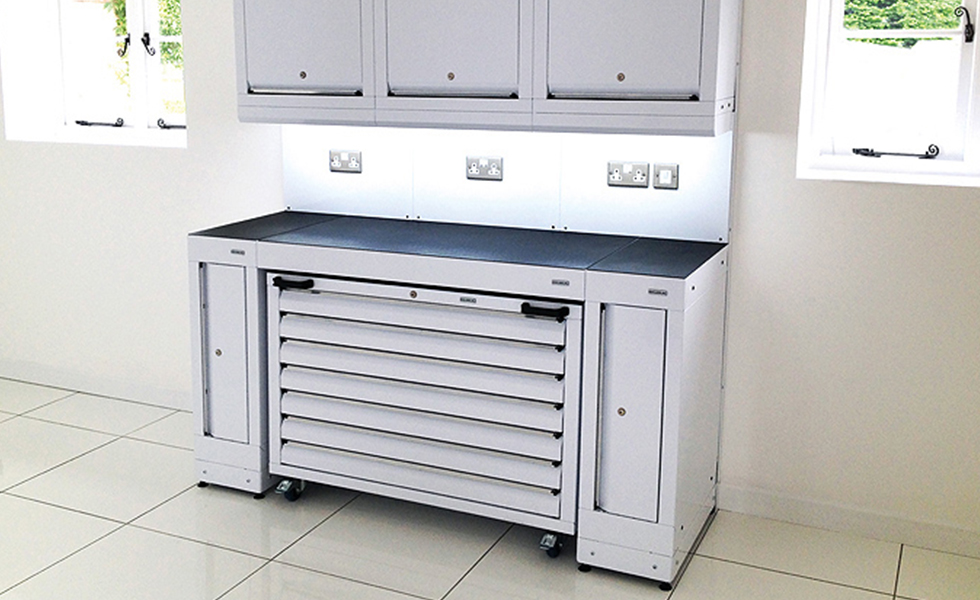 Dura compact home workshop configuration with a mobile tool cabinet and under cabinet lighting