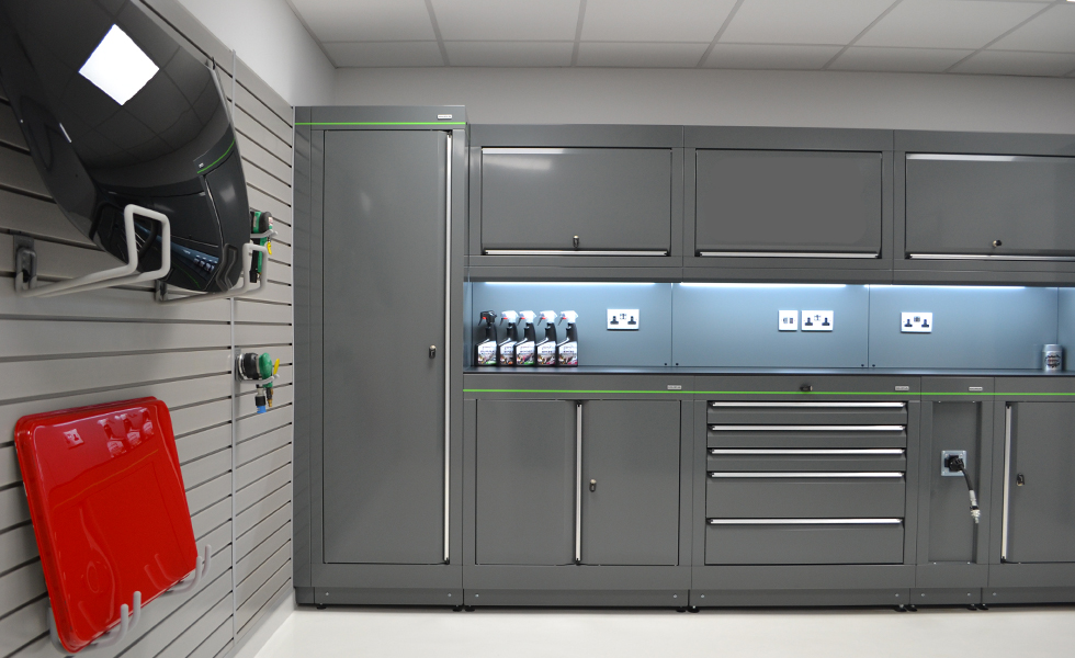 Dura home workshop with modular cabinets and StorePanel wall mounted storage