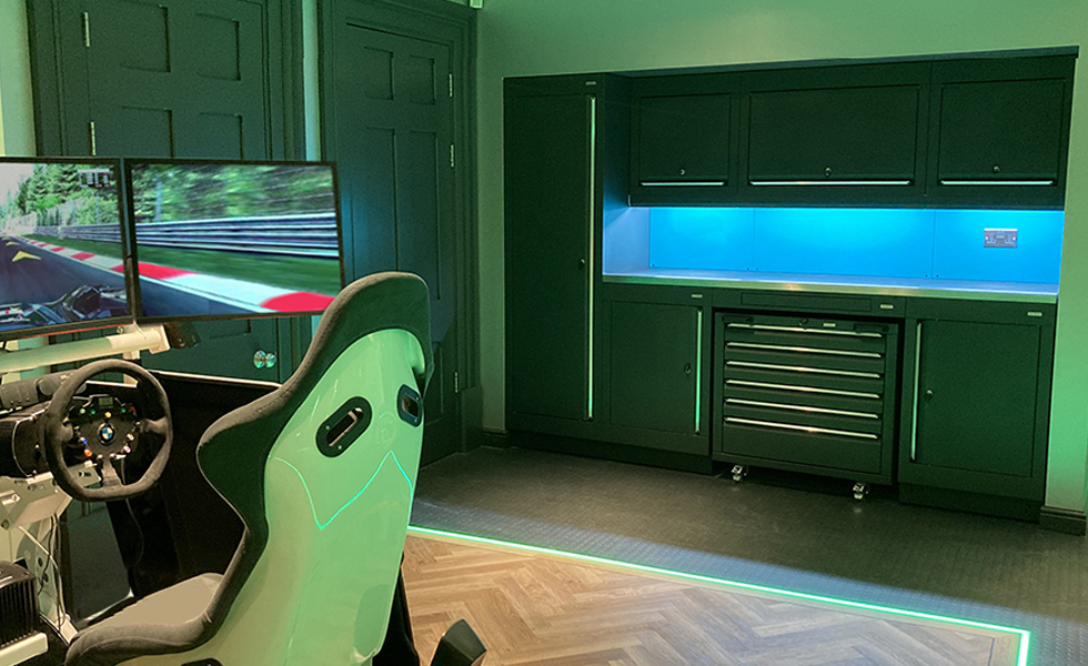 Dura cabinets for a racing simulator garage