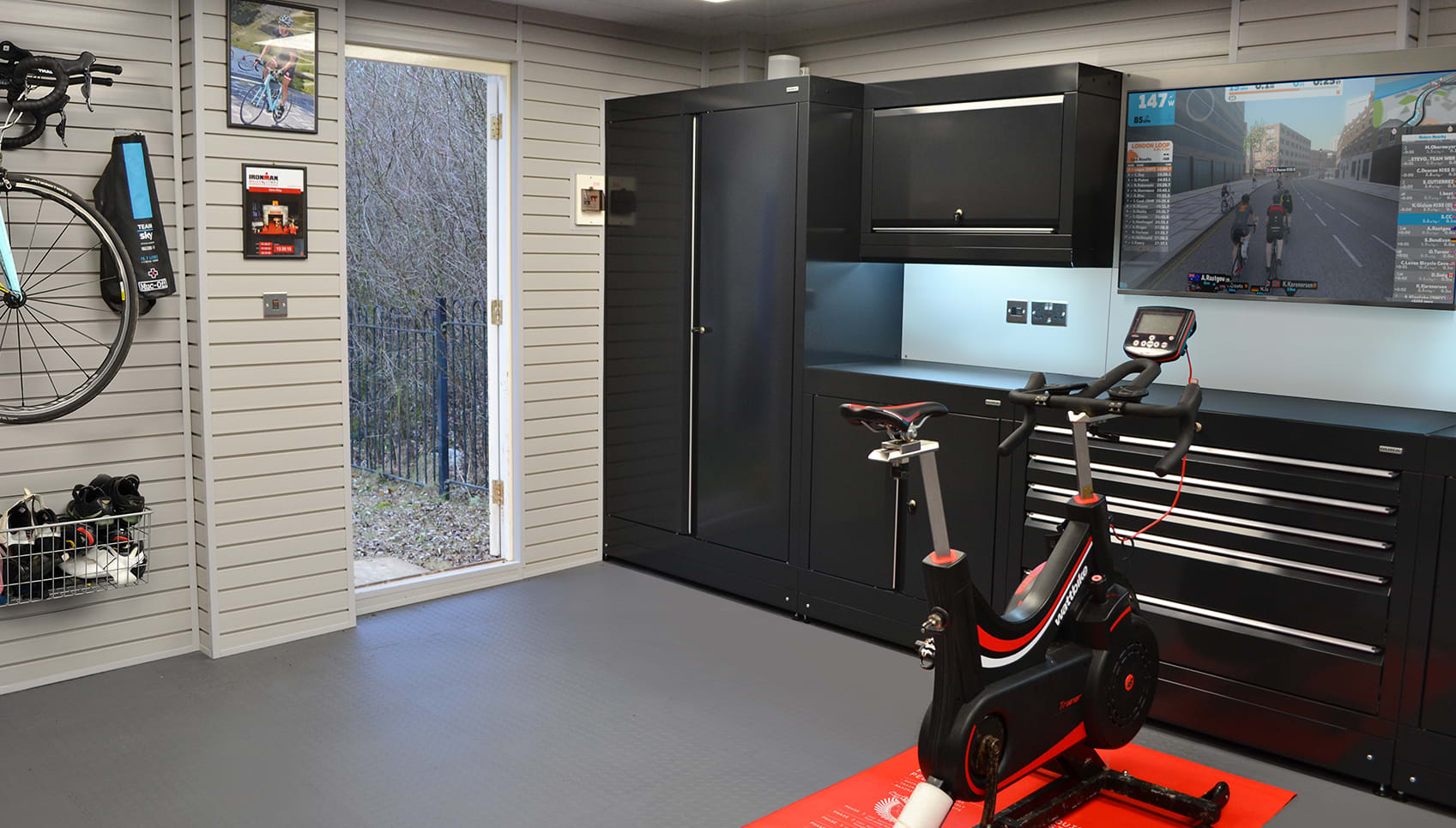 Garage gym s cyclist s garages from garage experts dura garages